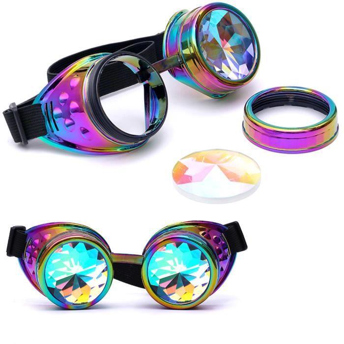 Deuxsuns®Lunettes colorées de Kaléidoscope Rave Festival Party EDM Lunettes de soleil Diffracted@zf52