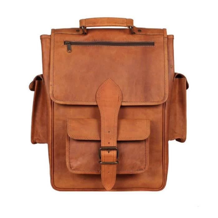 Fait main en cuir style vintage sac à dos - Sac collège Rucksack avec poches grandes BHQJK