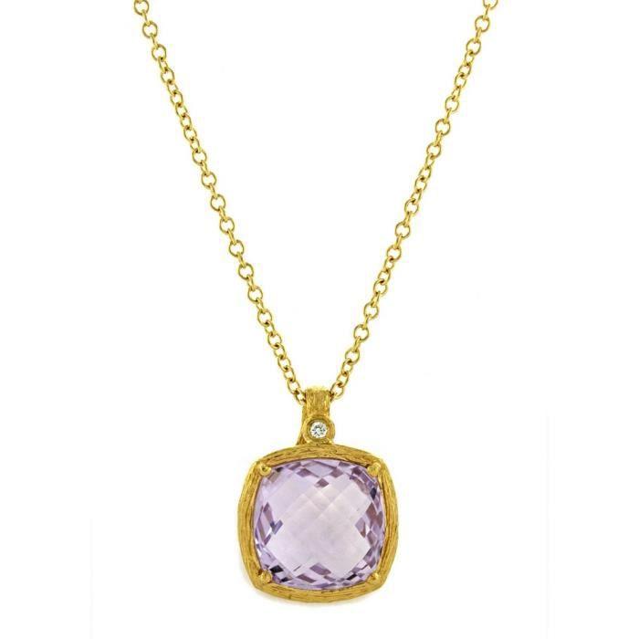 Or jaune 18 carats-Améthyste-Diamant brut Coussin 0.02ct-Collier