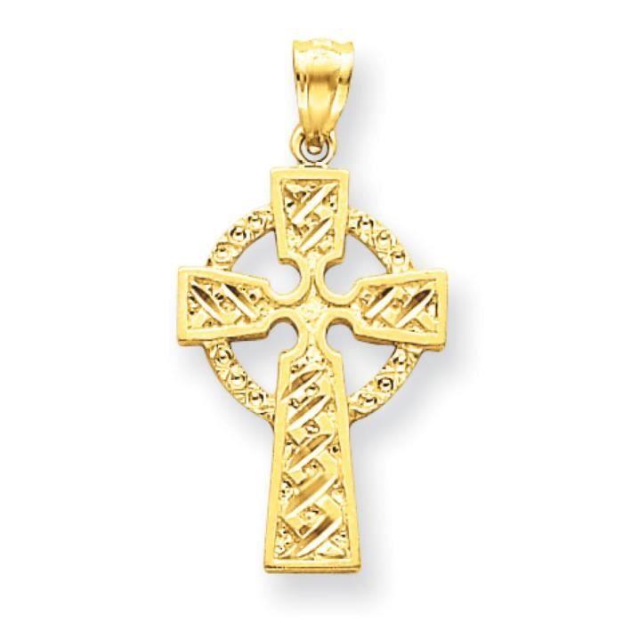 14 carats taille diamant pendentif celtique croix-Dimensions :24 x 17 mm