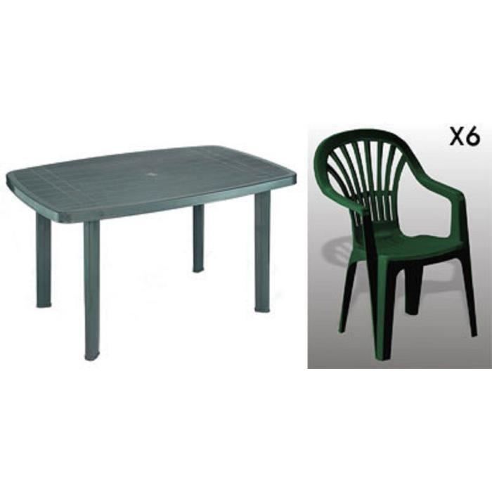 Table rectangulaire verte + 6 fauteuils empilables verts avec dossier haut