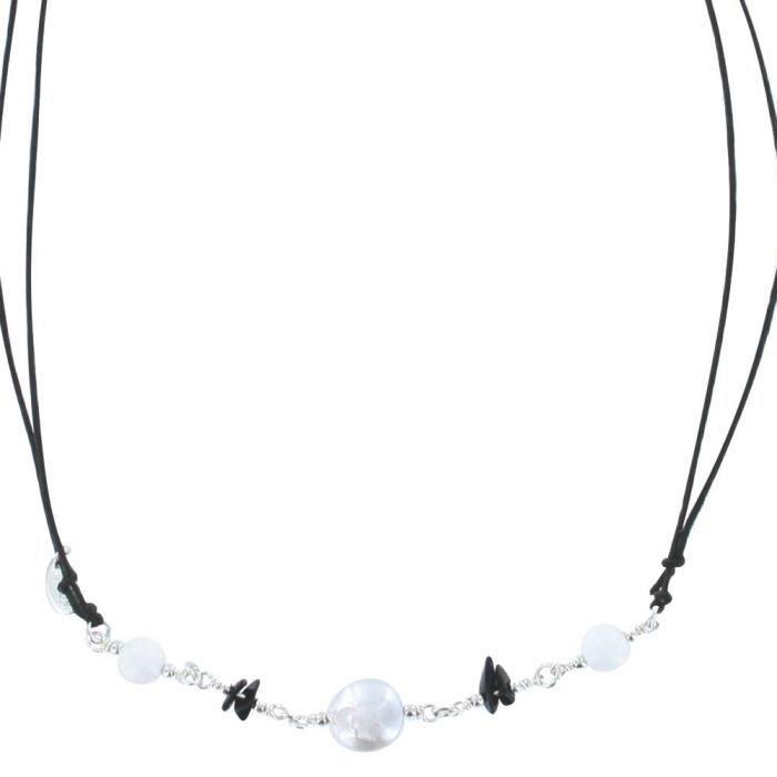 Jouailla - Collier cordon réglable pierres naturelles argent 925/1000