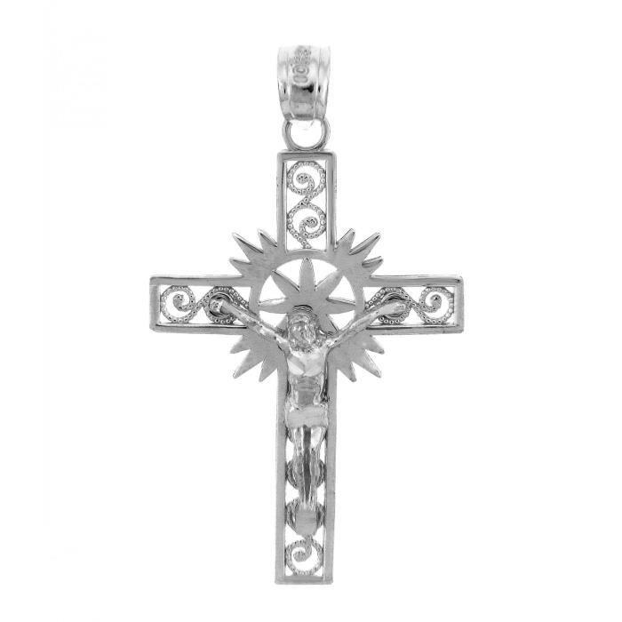 Pendentif10 ct Or Blanc 471/1000 CrucifixLe crucifix pendentif Espoir