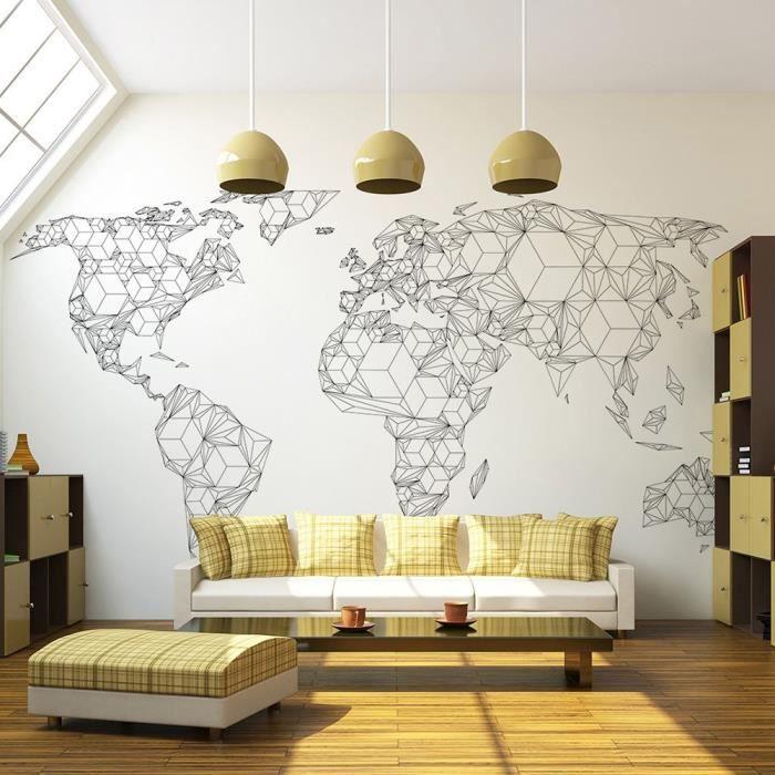 Poster mural geant carte du monde   Achat / Vente pas cher