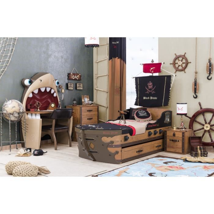 chambre coucher enfant black pirate compl te par ilek achat vente chambre compl te. Black Bedroom Furniture Sets. Home Design Ideas