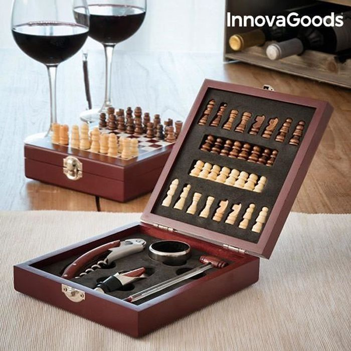 COFFRET SOMMELIER Jeu d échecs et set d accessoires à vin (37 Pièces