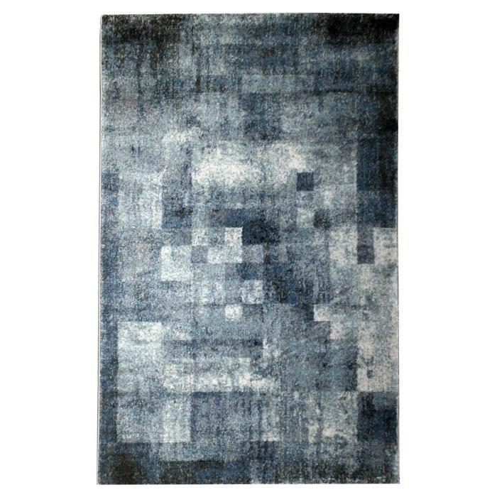 Tapis De Salon Geometrique Grenada Bleu Et Gris 120x170cm Achat