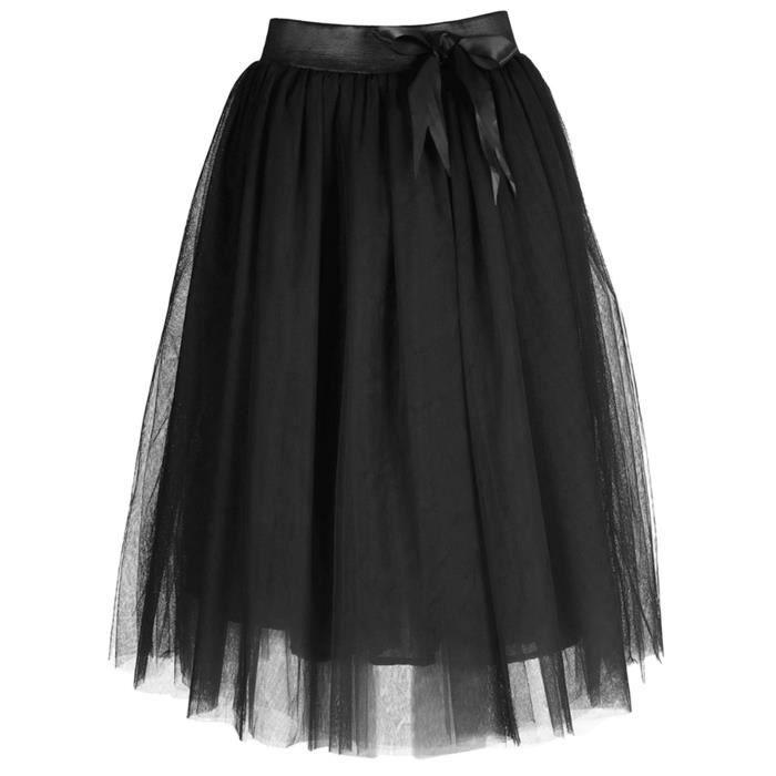 79957919d5cf8 Feoya - Jupe Midi en Tulle Femme Taille Elastique Noeud de Papillon Jupe  Tutu au Genoux Rétro Printemps Eté FR50-52 Noir