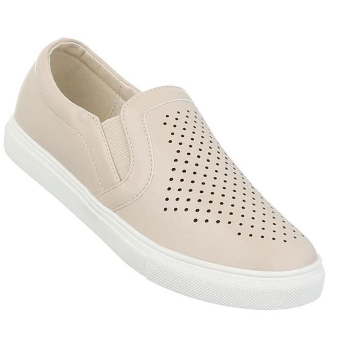 Slipper 41 Chaussure Basse Femme Beige Loafer Chaussures QECrxBdeWo