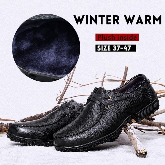 Haute Qualité New BOTTES hommes en cuir véritable hiver Mode Plus Chaussures en coton velours lacent britannique Martin Bottes