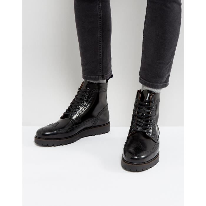 Fred Perry X George Cox - Bottines style creepers mi-hautes en cuir - Noir