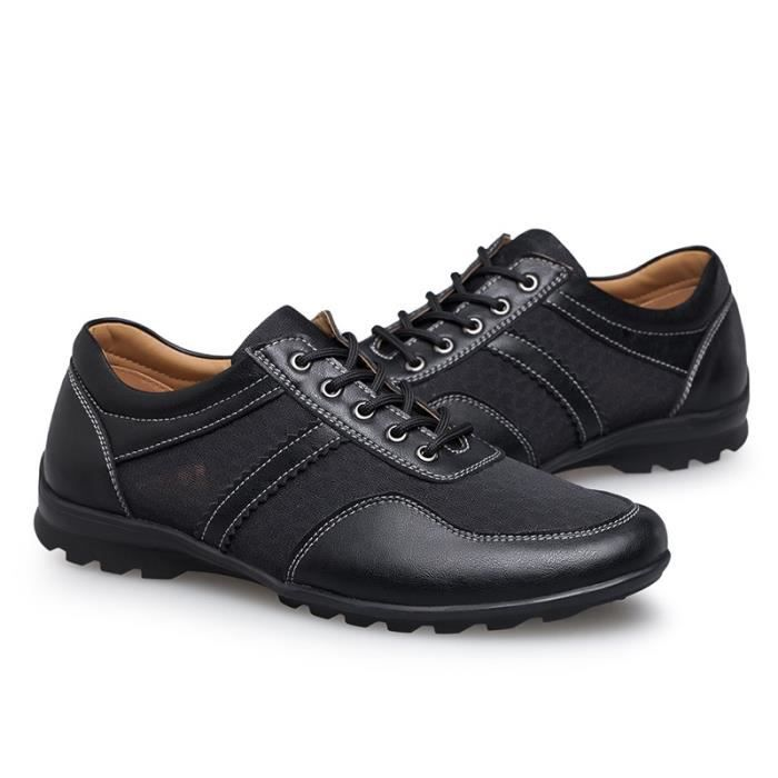 Mode Hommes Mocassins en cuir véritable Chaussures Printemps - Été Mesh Hommes Chaussures Hommes Casual Flats Oxford transpirant