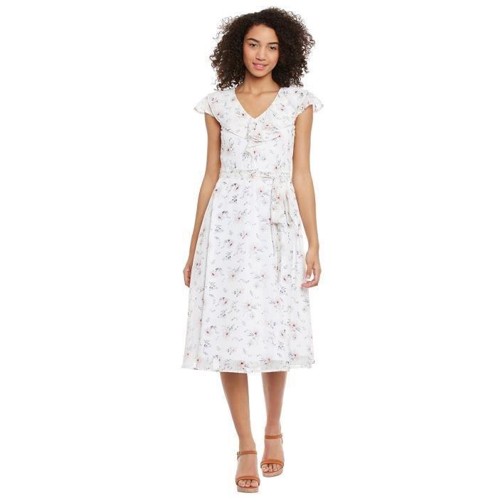 Womens White Floral Printed Midi Dress WKJ9Y Taille-36
