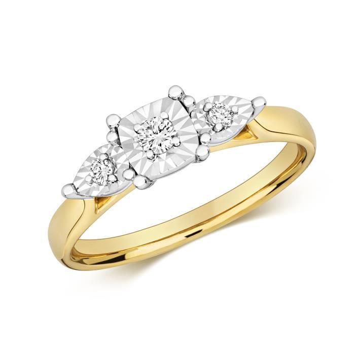 Bague Femme Trilogie Or 375-1000 et Diamant Brillant 0.10 Carat GH - I1 40302