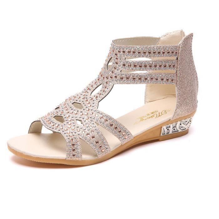 Beige Plats Toe Femme Sandales Talons À De Été Peep Casual Wowa® Chaussures DHE9beW2IY