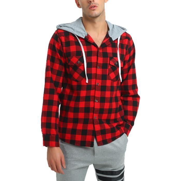 Surchemise homme à capuche en coton à carreau casual pour jeune homme  manches longue Noir rouge 16bd7f4af2fa
