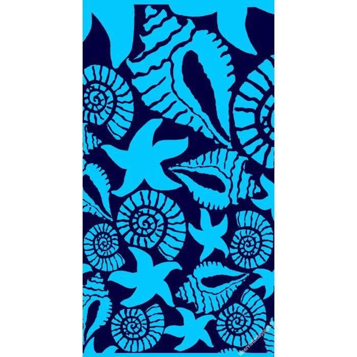 serviette de plage piscine 86x160 coquillage bleu achat vente serviettes de bain soldes. Black Bedroom Furniture Sets. Home Design Ideas