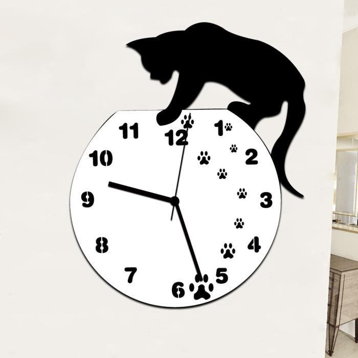 Tofern horloge murale pendule 3d chat silencieuse diy - Horloge pour cuisine moderne ...