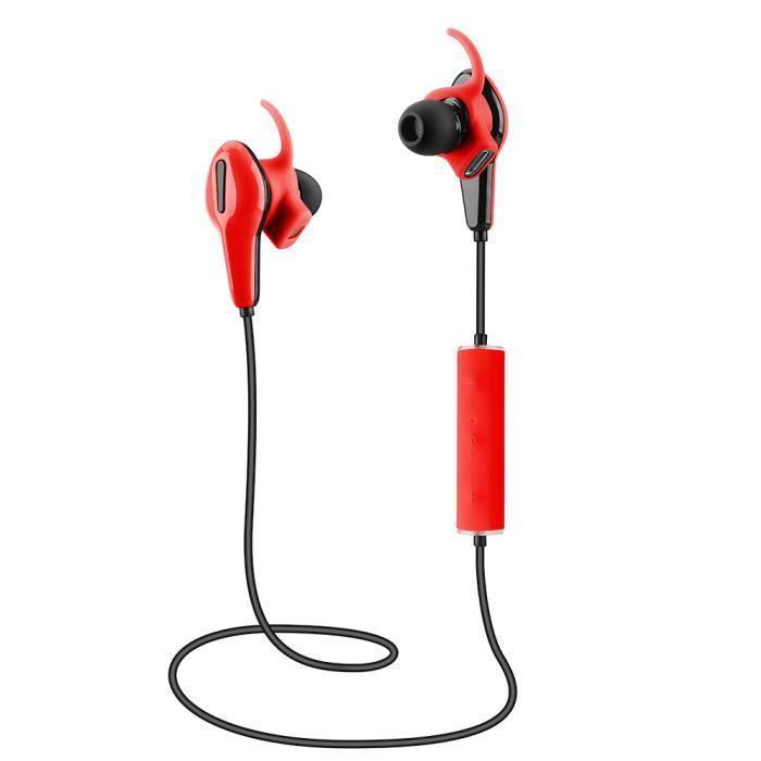 App 520 Casque Stéréo Bluetooth Sans Fil Control 4.0 Csr8645 Pédomètre À Fréquence Cardiaque Rouge