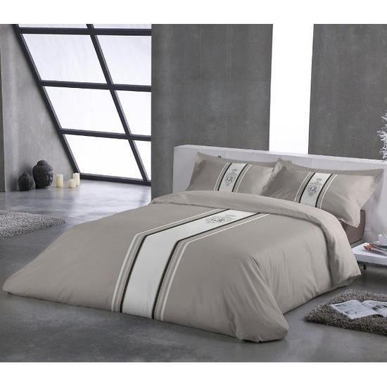 parure housse de couette rayure taupe 240x220cm achat. Black Bedroom Furniture Sets. Home Design Ideas