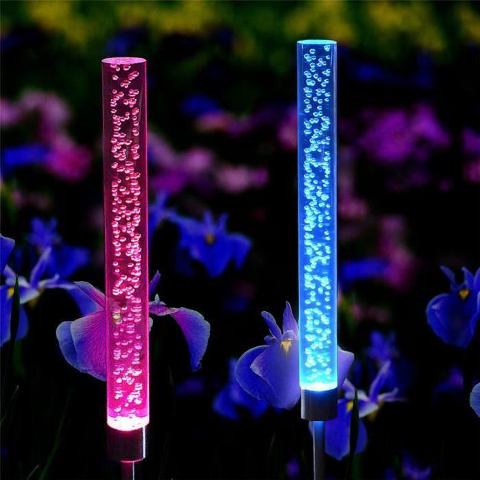 Bâton Lumières Rvb Bulle Led Pcs De Jardin 2 Coierbr Bl4441665 Tube Couleur Stake Solaire Changement Lampes 0n6HOYx