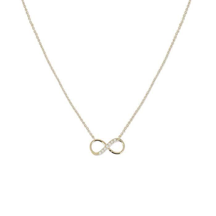 61662 - Eternity - Collier Avec Pendentif Femme - Plaqué Or - Oxyde De Zirconium - 42 Cm Z8P0R