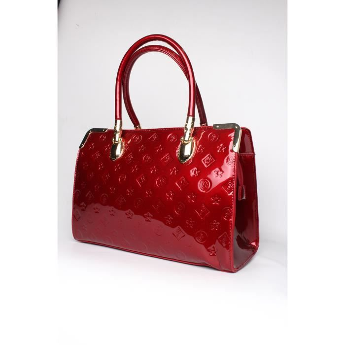 SAC A MAIN FEMME - MULTIPOCHES VERNIS ROUGE