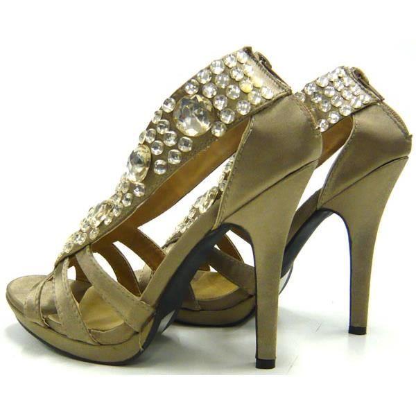 Sexy partie femmes chaussures Strass l'escarpin talon aiguille kaki 39
