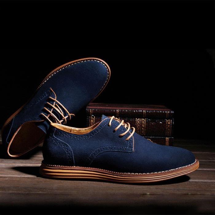 Oxford Flats en cuir décontractée Mode homme Mocassins en cuir pour homme,bleu,10.5,6552_6552
