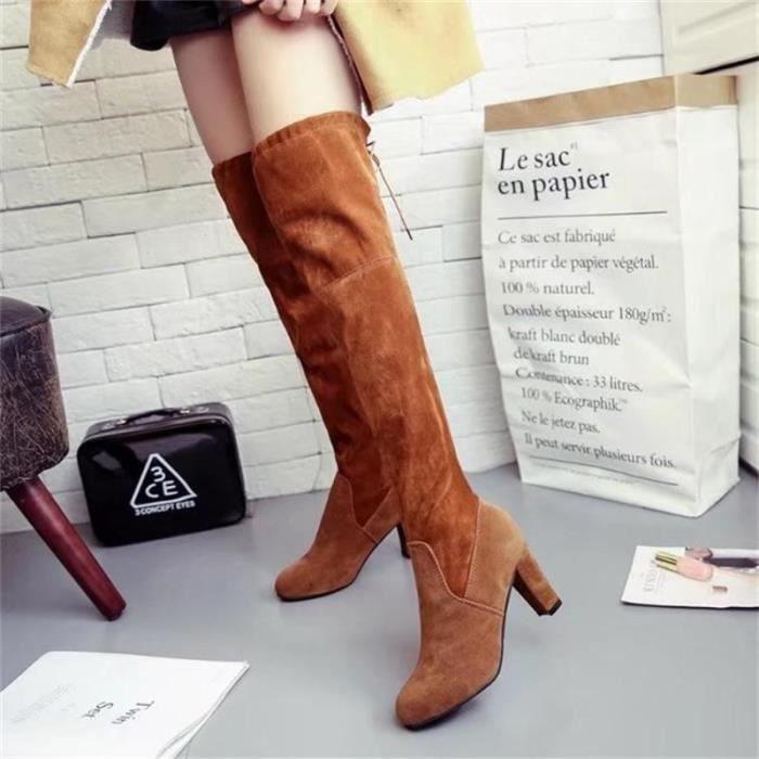Lady daim cuisse en daim bottes hautes bottes genou étirent sexy super haut talons chaussures vin noir gris brun rouge,noir,36