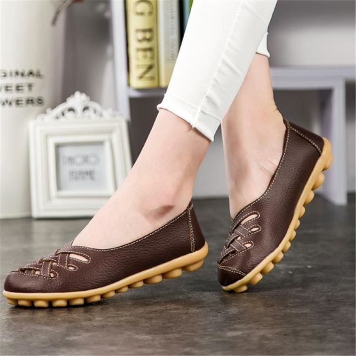 Mocassin Femmes ete Loafer Ultra Leger Respirant Chaussures YLG-XZ053Orange34