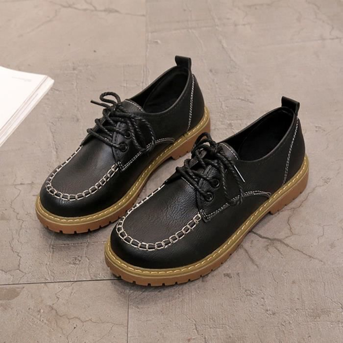 Mesdames Cuir Casual Mode Chaussures Dentelle En Court Up Bottes Cheville Oppapps857 Flat Femme dgBqwd