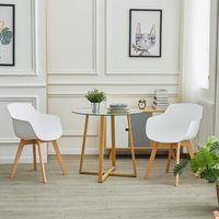 DORA HOUSEHOLD Table à Manger en Verre , Scandinave Table Basse avec Pattes en métal, 75 x 80 cm, Transparent