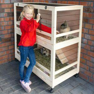 CAGE Cage Clapier Enclos lapin Extérieur en Bois Haute