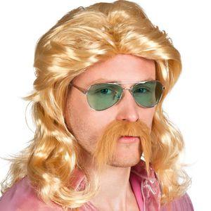 CHAPEAU - PERRUQUE PERRUQUE BARRY AVEC MOUSTACHE  Blond