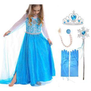 Kit Reine Des Neiges Robe Elsa + 4 Nouveaux Accessoires Diadème Baguette  Gants Fleur Cheveux Taille 2 À 10 Ans Déguisement Princesse 6c881910993e