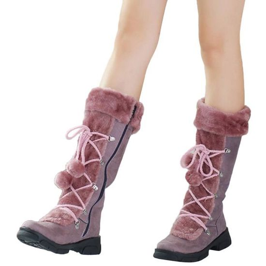 Oppapps2735 Neige Gardez Talon Chaud Zipper Femmes Bottes Rond Chaussures Carré Hairball Suede Bout À rrzwgUO