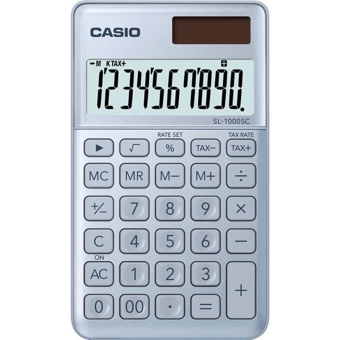 CASIO Calculatrice de poche SL-1000SC-BU-S-EP bleue