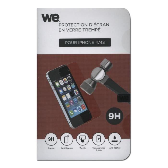 WE Verre Trempé pour iPhone 4 et 4S