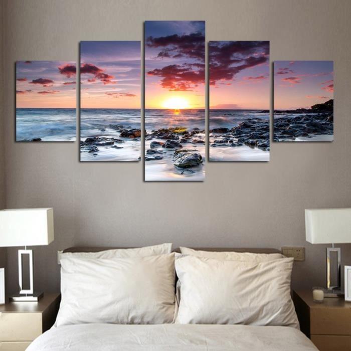 Art moderne de mur Décoration intérieure Peinture à l\'huile imprimée 5  pièces Sans cadre Le lever du soleil sur le paysage de la mer