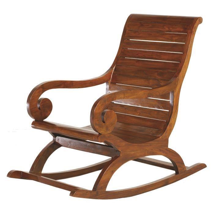 fauteuil rocking chair lola en bois marron ethnique. Black Bedroom Furniture Sets. Home Design Ideas