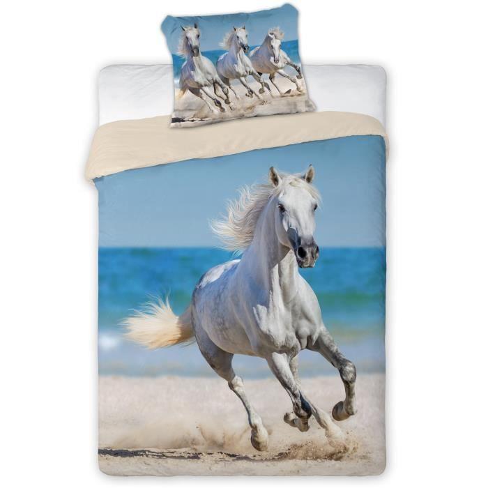 Cheval Blanc linge de lit housse de couette + Taie parure de lit 1 personne  100% Coton Chevaux Poney Pony Horses 12cd69a7bb85