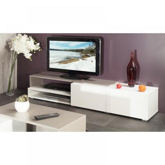 Pacific Meuble Tv Couleur Blanc Et Taupe Laqué … - Achat / Vente