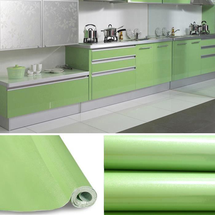 Kinlo® 5M*0.61M Papier Peint Auto-Adhésif Vert Claire Pour Armoire