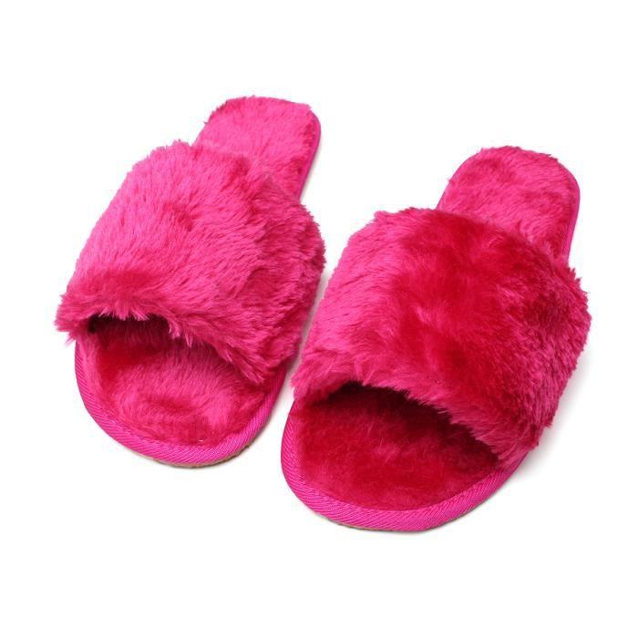 Femmes hiver pantoufles d'intérieur Hairball Anti-Slip Soft Femmes enceintes Chaussureshyu-228 PfXQP