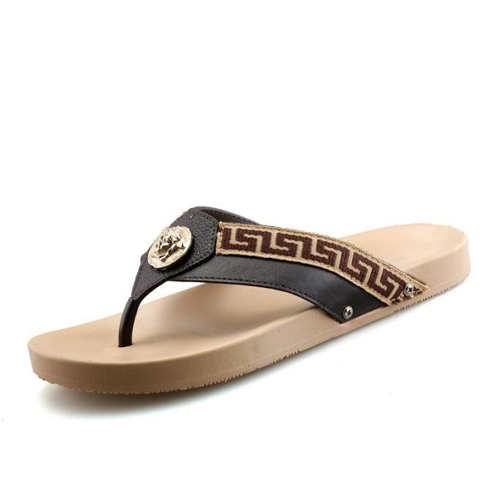 Mode d'été pour hommes respirante Flat Sandal Chaussures 35FipVjBg