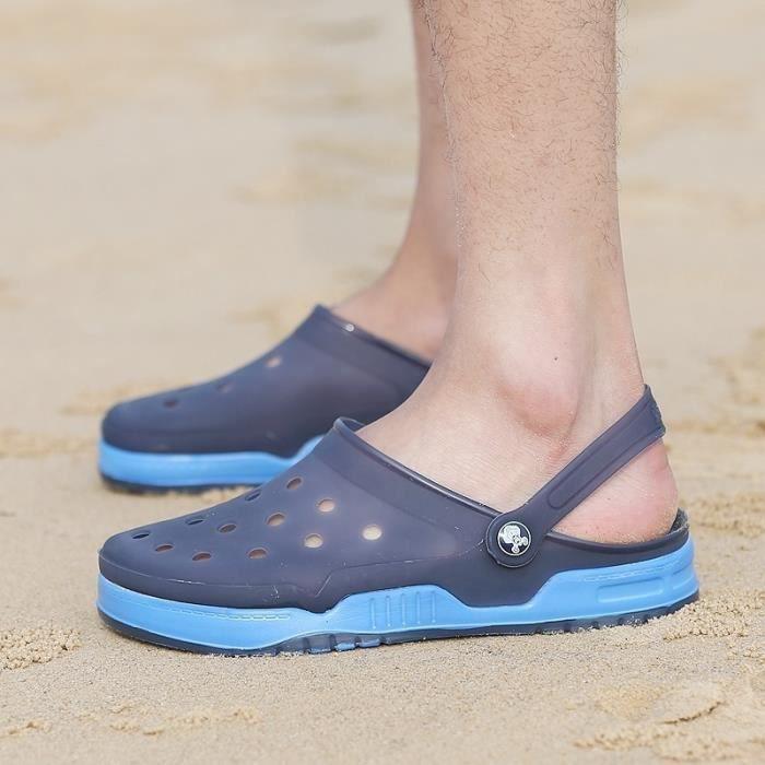 Nouveau design Hommes Mesh Sandales Respirant été talon plat Sandales hommes plage Tongs Chaussons,Bleu,43