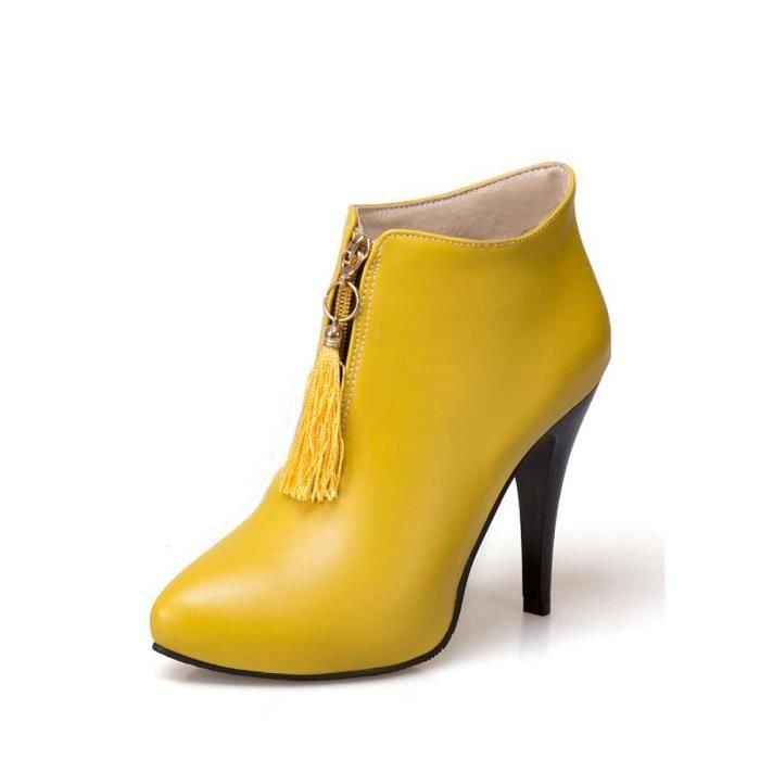 Les femmes talon Bottines mince couleur solide Chaussures bout pointu chic 10072494