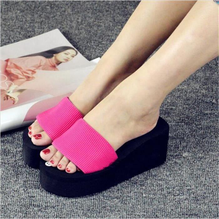 Chaussure Femme chaussures à plateformes LéGer Version Sandal Femmes Tongues Femmes Pantoufle éTé Grande Taille,rose,38