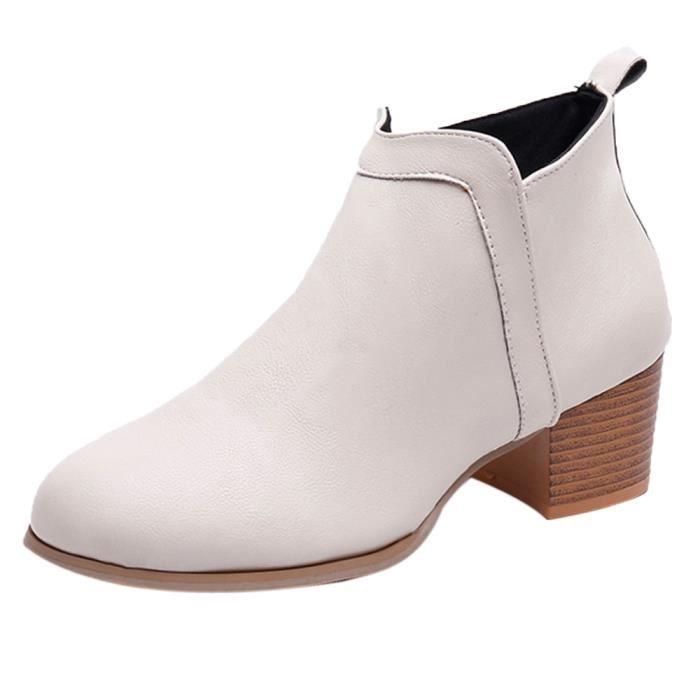Bottines Bas Mode Épais Talon Femme Vintage Botte Courte Bottes Beige Chaussures Cheville 4qOq8U